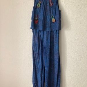 Conditions Apply Other - Embroidered Critters Jumpsuit
